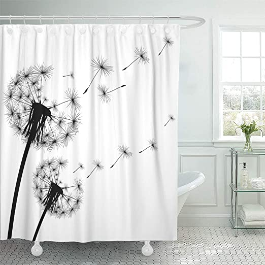 Flower Dandelion Black Shower Curtain Set Waterproof Fabric Bathroom Mat Hooks