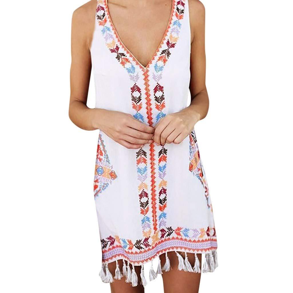 Quealent Women Summer Boho Tassel Dresses Casual Print Sleeveless Beach Sundress Knee Length Swing Dress White