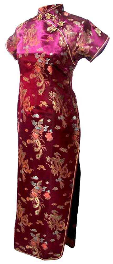 7Fairy Women's Vtg Burgundy Dragon Long Chinese Party Dress Cheongsam Size 8 US