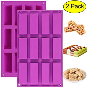 Palksky (2 Pack)12 Cavity Medium Narrow Silicone Rectangle Molds/Molds/Protein Bars mold/Energy Bars Maker for Caramel Bread Loaf Muffin Brownie Cornbread Cheesecake Pudding Soap Butter Mould