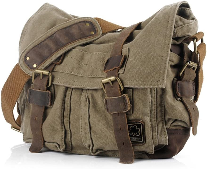 "Jonon Vintage Military Men Canvas Messenger Bag for 13.3-17"" Laptop (Size 17.3"", Green)"