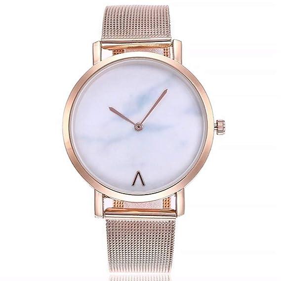 ZXMBIAO Reloj De Pulsera Unisex Ultra Thin Marble Dial Relojes Moda Mujer Hombre Acero Inoxidable Relojes De Pulsera De Cuarzo, Oro Rosa: Amazon.es: Relojes