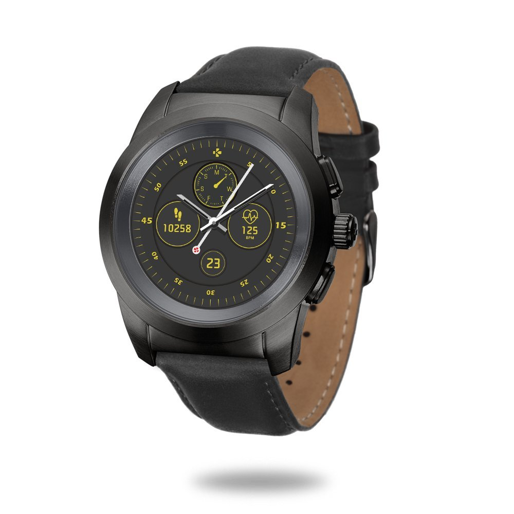 MyKronoz ZeTime Premium Hybrid Smartwatch 39mm with mechanical hands over a color touch screen – Brushed Black / Black Embossed Leather