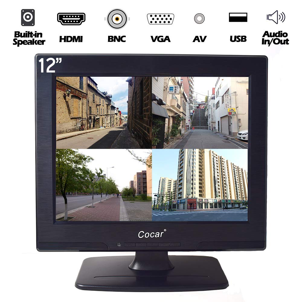 12 Inch LCD Security CCTV Monitor VGA HDMI AV BNC, 4:3 HD Display (LED Backlight) Screen with USB Drive Player for Home Surveillance Camera STB PC 800x600 Resolution Built-in Speaker Audio in/Out by Cocar (Image #1)