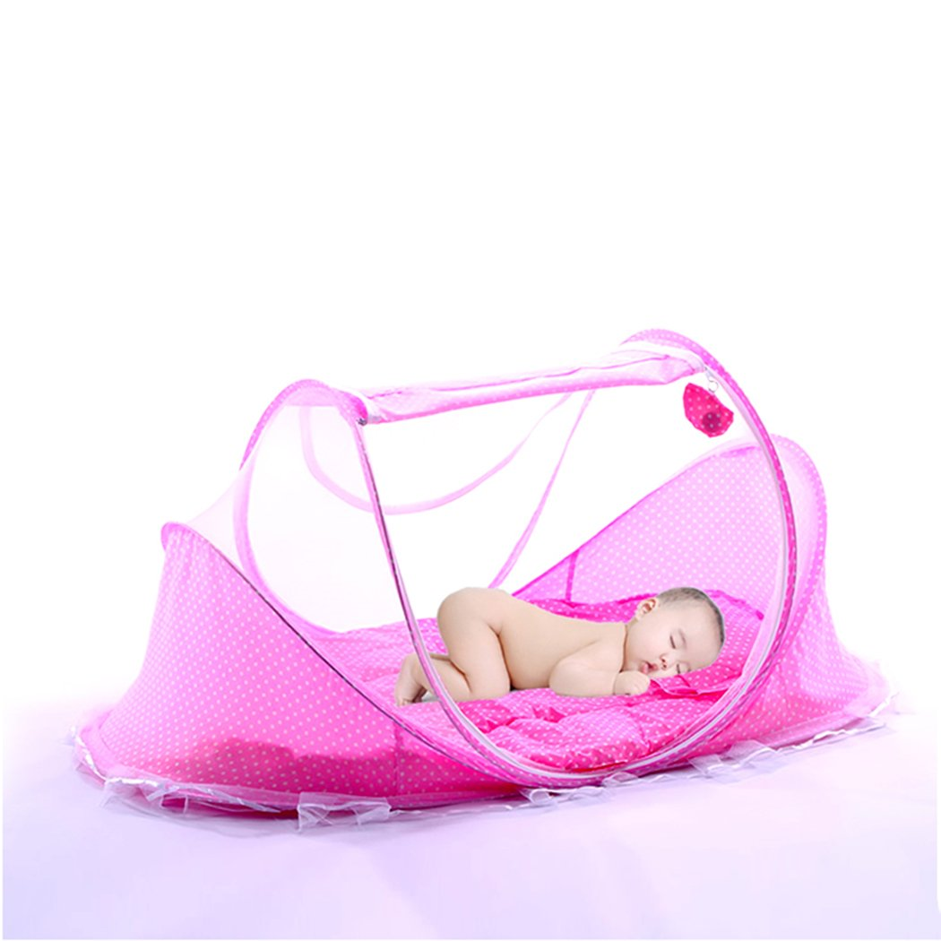 XWB Foldable Infant Baby Crib Pad Mosquito Net Travel Cots Newborn Portable Crib Tent Mattress Cradle Bed Pillow