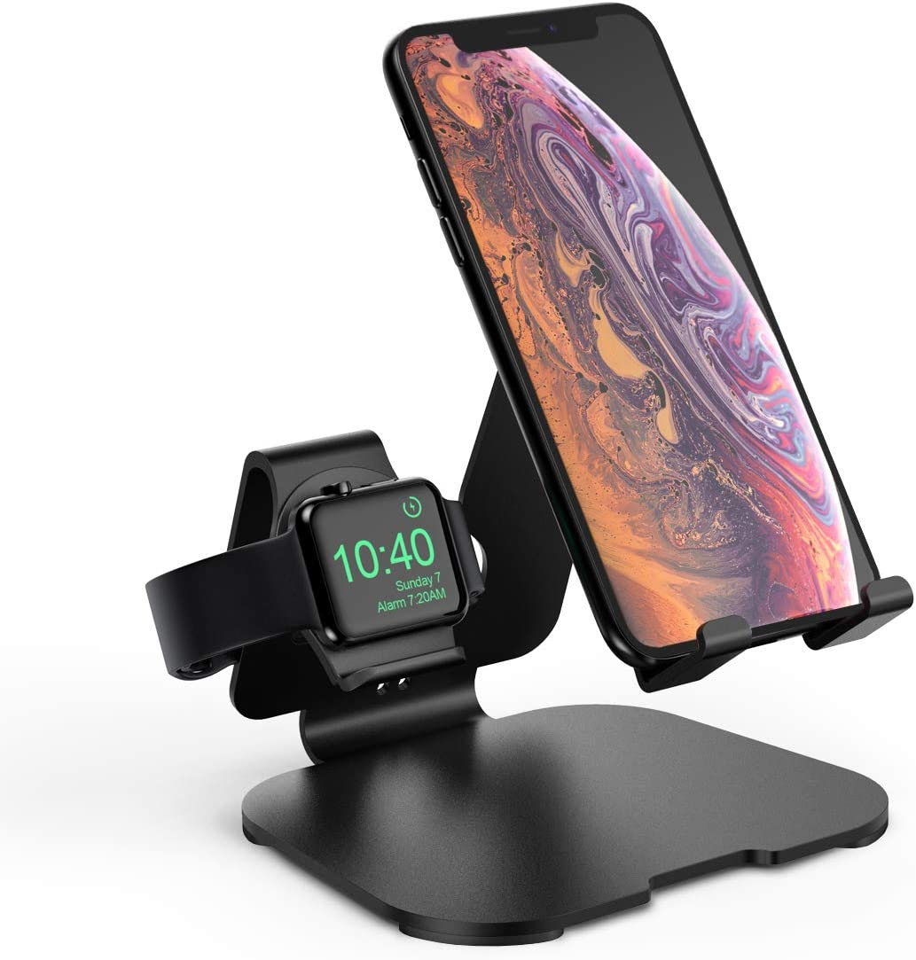 Charging Station for iPhone Apple Watch 5/4/3/2, 2 in 1 Universal Desktop Stand Holder for iPhone 11/11 Pro Max/XR/XS Max/Xs/X/8 (Upgraded)