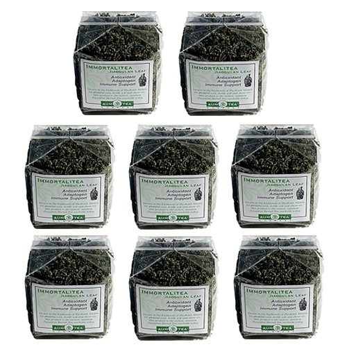 Organic Display (8 Pack | 100 Gm (3.5 Oz.) | Jiaogulan Herbal Organic Immortalitea | Retail Cellophane Packages for easy Store shelf display | 35% Wholesale Discount | 15 page Mini-Booket with 18 Jiaogulan Q&A's with each Package)