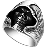 Men's Large Vintage Biker Gothic Casted Death Grim Reaper Skull Stainless Steel Punk Ring Silver Black