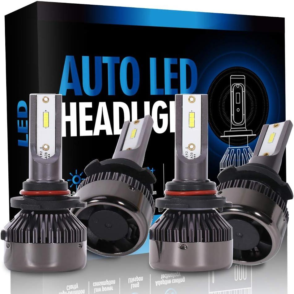 16000Lm 160W 6000K Focus Light ECCPP 9005+9006 LED Headlight Bulb Super Bright Cree White Auto Headlamp Conversion Kit High Low Beam Pack of 4 1 Year Warranty