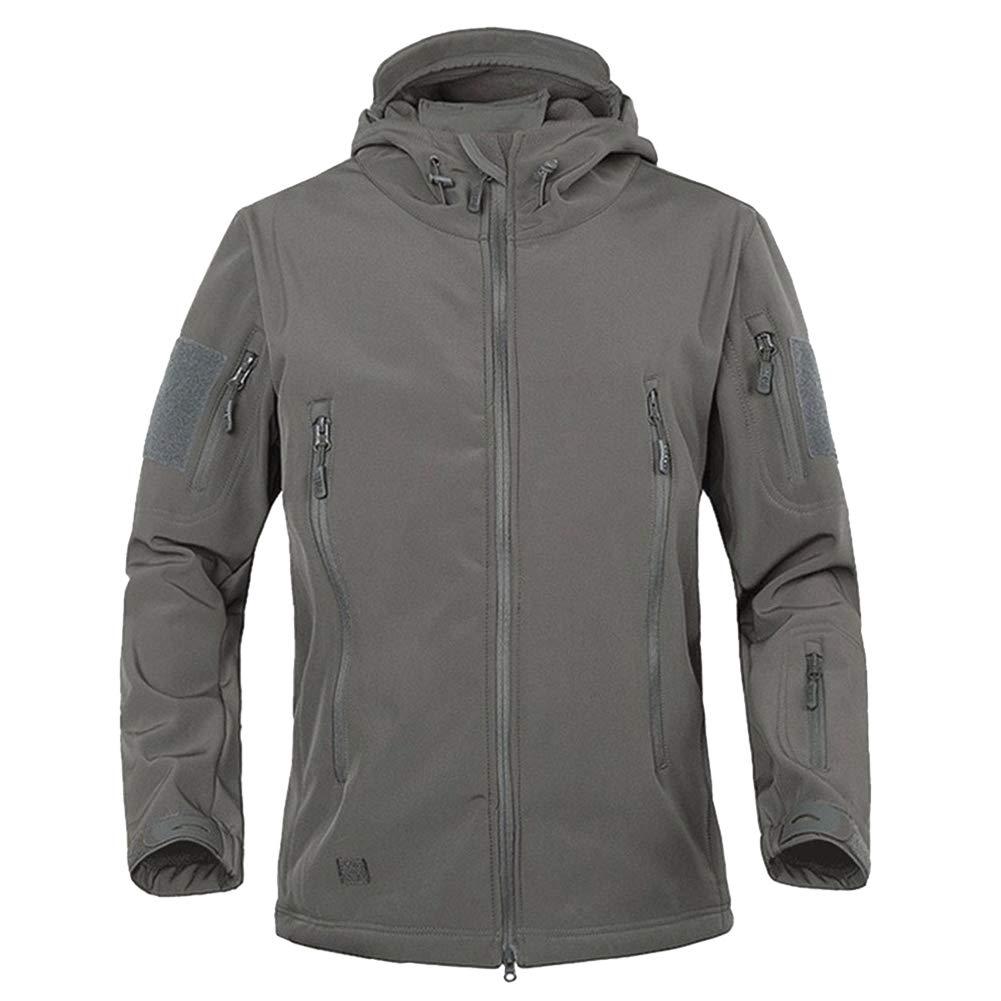 Men's Military Softshell Tactical Jacket Hooded Fleece Coat TACVASEN TJ1