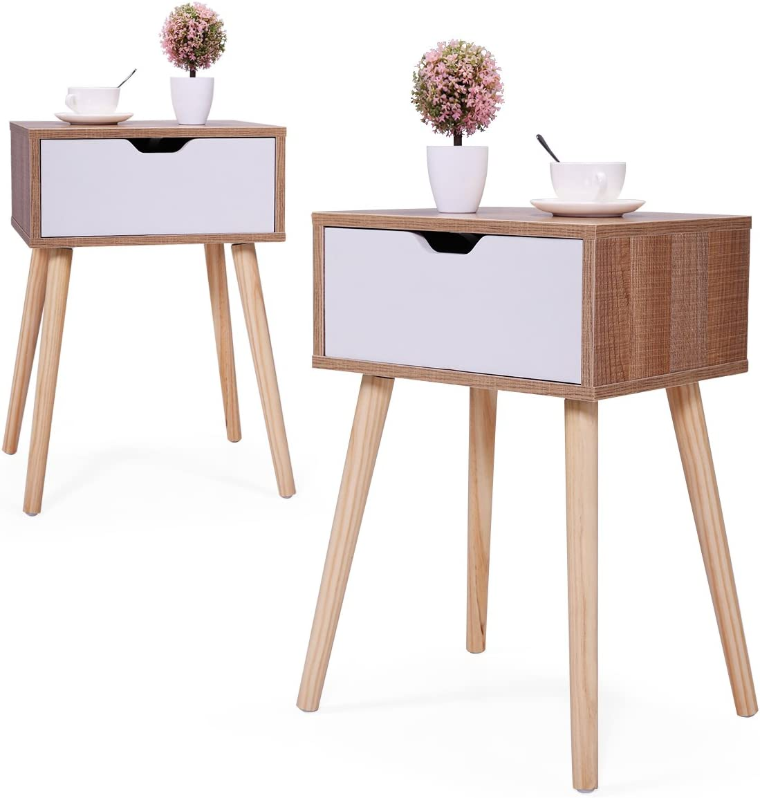 JAXSUNNY Mid-Century Solid Wood Legs Side Table, Bedside Table Nightstand End Table, with White Storage Drawer 23.1 H – Set of 2 in Walnut