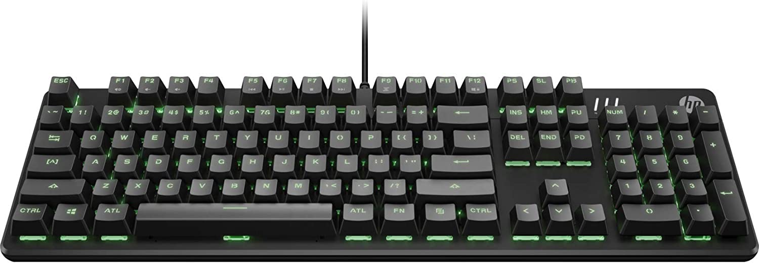 HP Pavilion Mechanical Gaming Keyboard 500 with Wired USB, Red Switches, RGB LED Backlighting, 10-Key Rollover Anti-Ghosting, Media Control Keys and 2-Way Adjustable Legs (3VN40AA#ABL)