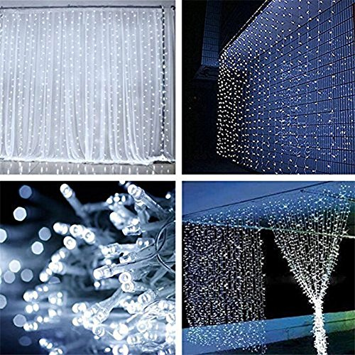 ZSTBT Linkable 300LED 9.84ft9.84ft/3m3m Window Curtain String Lights Icicle Fairy Lights Party Wedding Home Patio Lawn Garden Decorations(White) (Outdoor Wedding Lights compare prices)