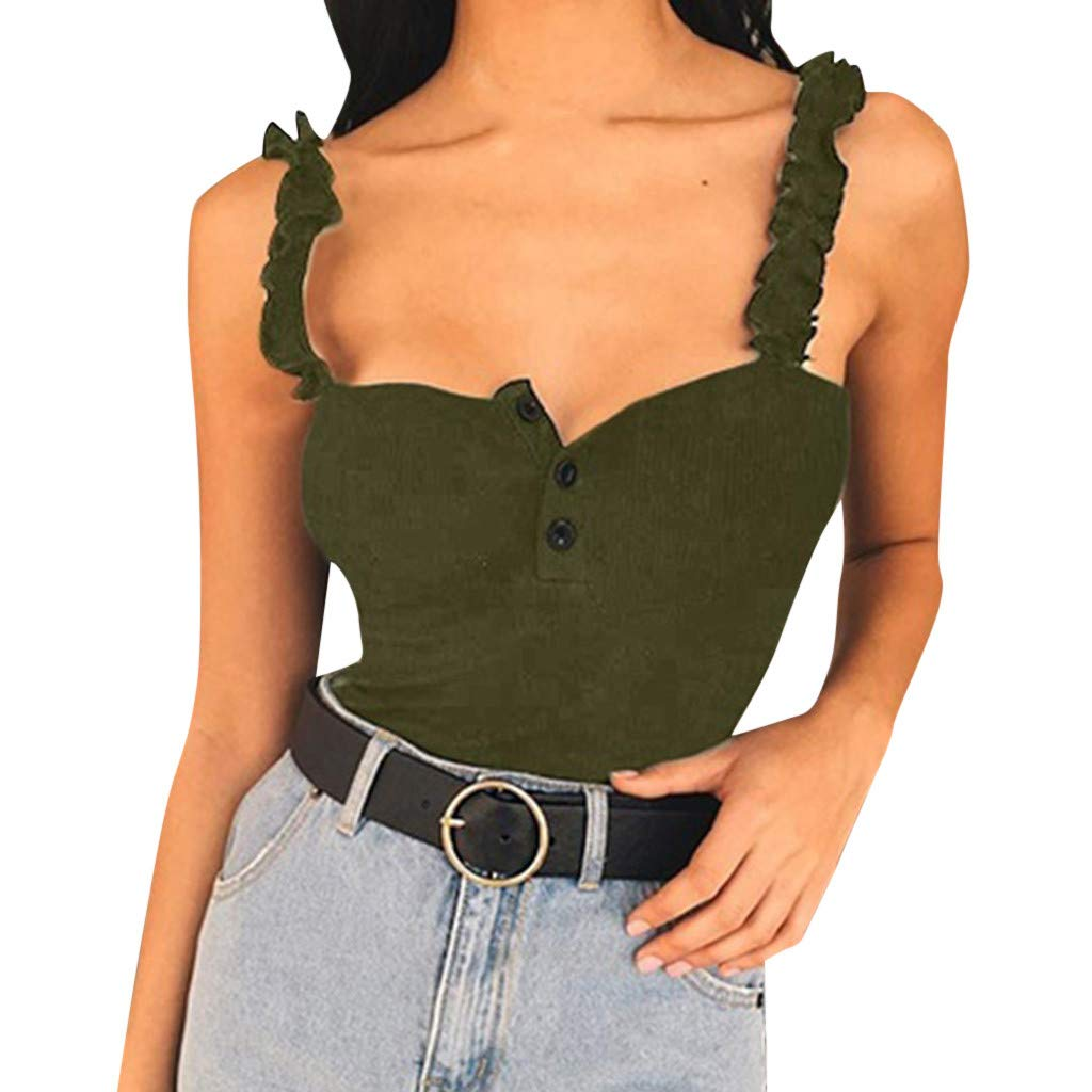 Coco-z Womens Sexy Sling Button Down Stretch Slim Fit Crop Tank Top Vest Shirt Green