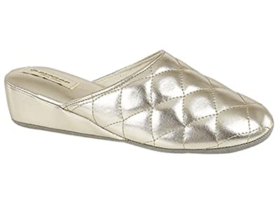 89d92c413e1c Dunlop SYBIL Ladies Quilted Mule Slippers Gold  Amazon.co.uk  Shoes ...