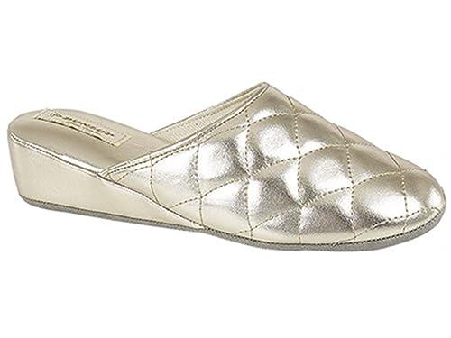d412b5dd4f8be Dunlop Sybil pantofole da donna trapuntato oro  Amazon.it  Scarpe e borse