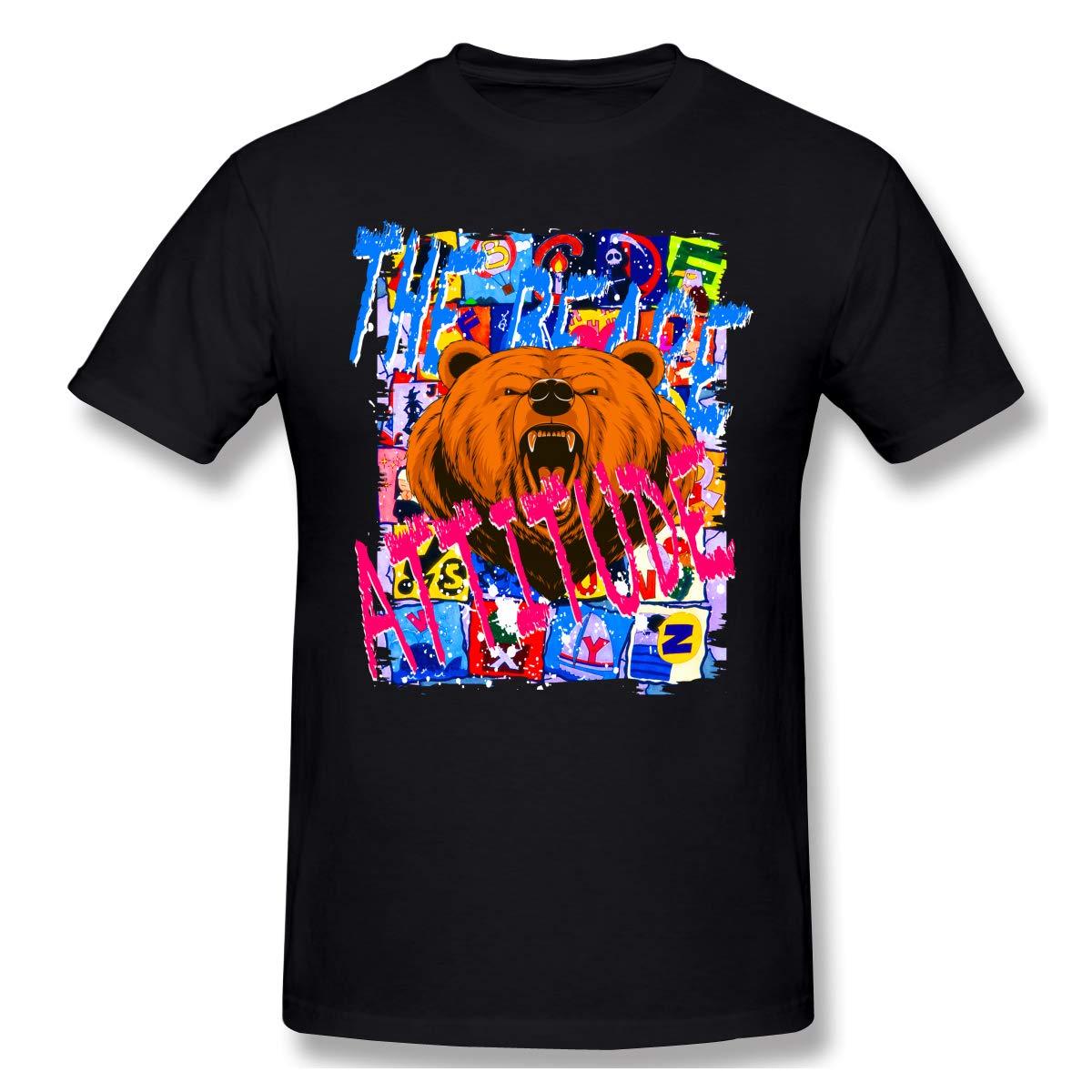 Xhsrgs S Bear Attitude Letter Howling California Bear Fashion Travel Black Short Sleeve T Shirts