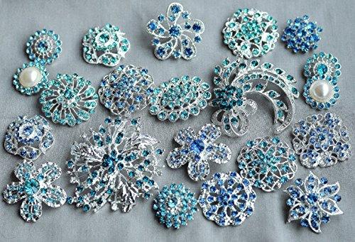 ua Teal Blue Rhinestone Button Brooch Assorted Pearl Crystal Wedding Bridal Brooch Bouquet DIY Supply BT998 ()