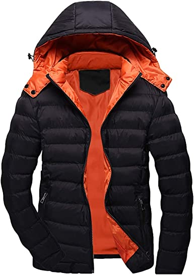Forthery-Men Packable Puffer Jacket Winter Jacket for Men Parkas Thicken Winter Coat Outwear Lightweight Hooded