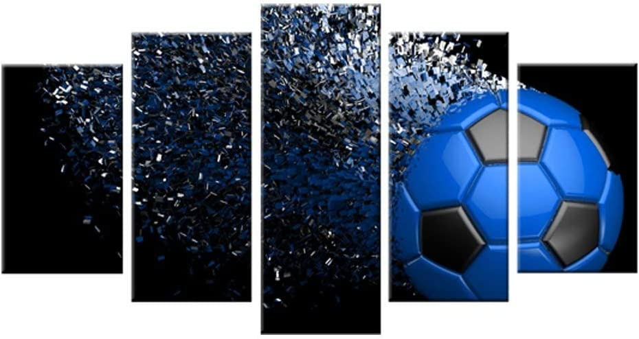 Blue Soccer Football Sport Themed Canvas Print Wall Art Picture for Boy's Room Wall Decor Canvas Painting Living Room Artwork Waterproof Home Decor Frame
