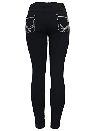 ec592c2cab1f8 New Ladies Womens Stretchy Black Fashion Silver Zip Embroidery Stud Skinny Jeans  Jeggings Leggings UK Size 8-26  Amazon.co.uk  Clothing