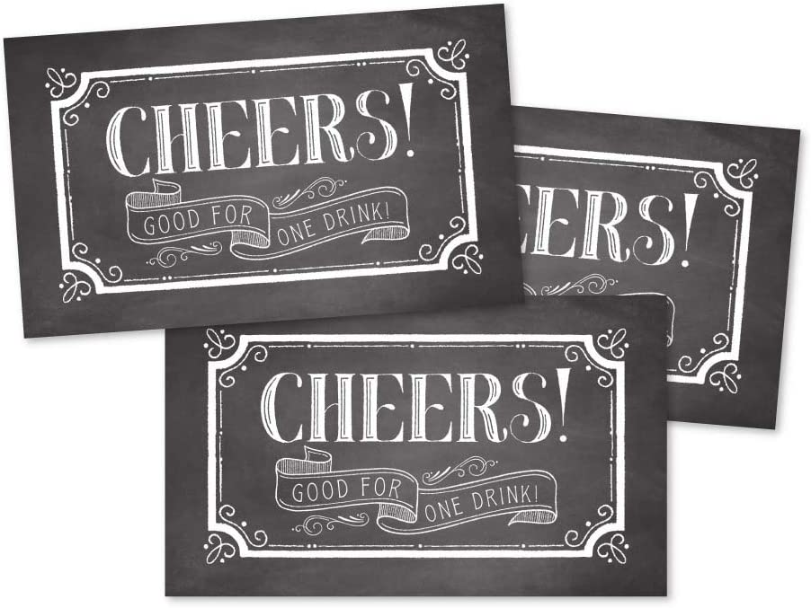 50 Rustic Chalk Drink Ticket Coupons for a Free Drink at Weddings, Work Events or Party Bar, One Free Beer Wine Alcohol Soft Drink or Food Vouchers, Cheers Large Drinking Paper Raffle Cards