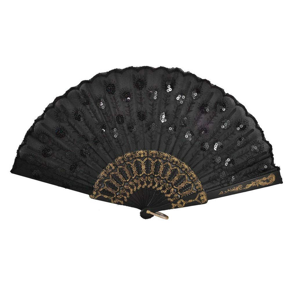 Bulk Fabric Black Folding Fan with Organza Gift Bag for Out Door Event //Party Favor //Table Setting //Wall Decoration//great Gatspy 12 Pc