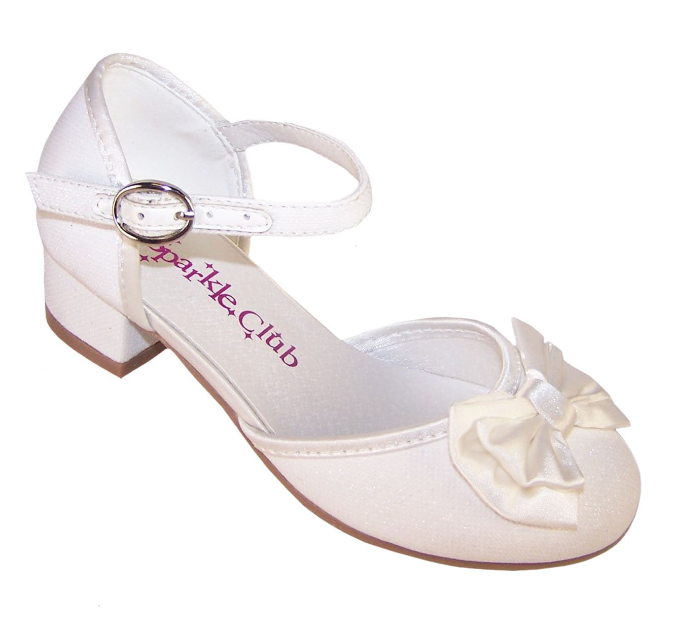 Girls' Ivory Sparkly Fabric Flower Girl Bridesmaid and Wedding Shoes Mary Jane
