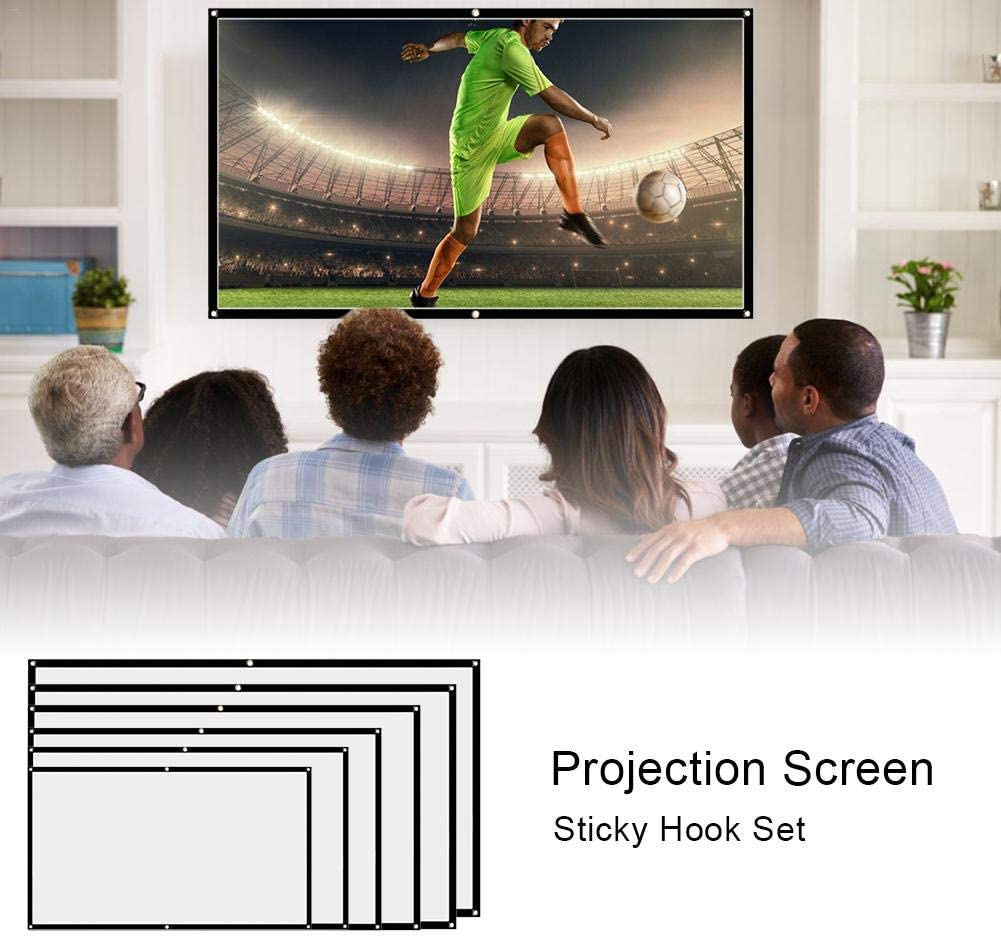 84inch Projector Screen Indoor Outdoor Projector Movie Screen Portable Projection Movie Screen Wall-Mounted Theater Projector Screen With Sticky Hook For Home Theater