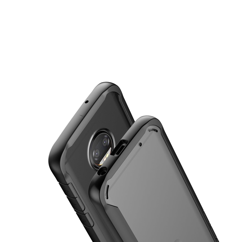 Tznzxm Fashion Crystal Clear Shockproof Hybrid Hard PC Back /& TPU Frame Bumper Protective Case Scratch Resistant Transparent Full Body Cover for Motorola Moto G6 Plus 2018 Black Moto G6 Plus Case