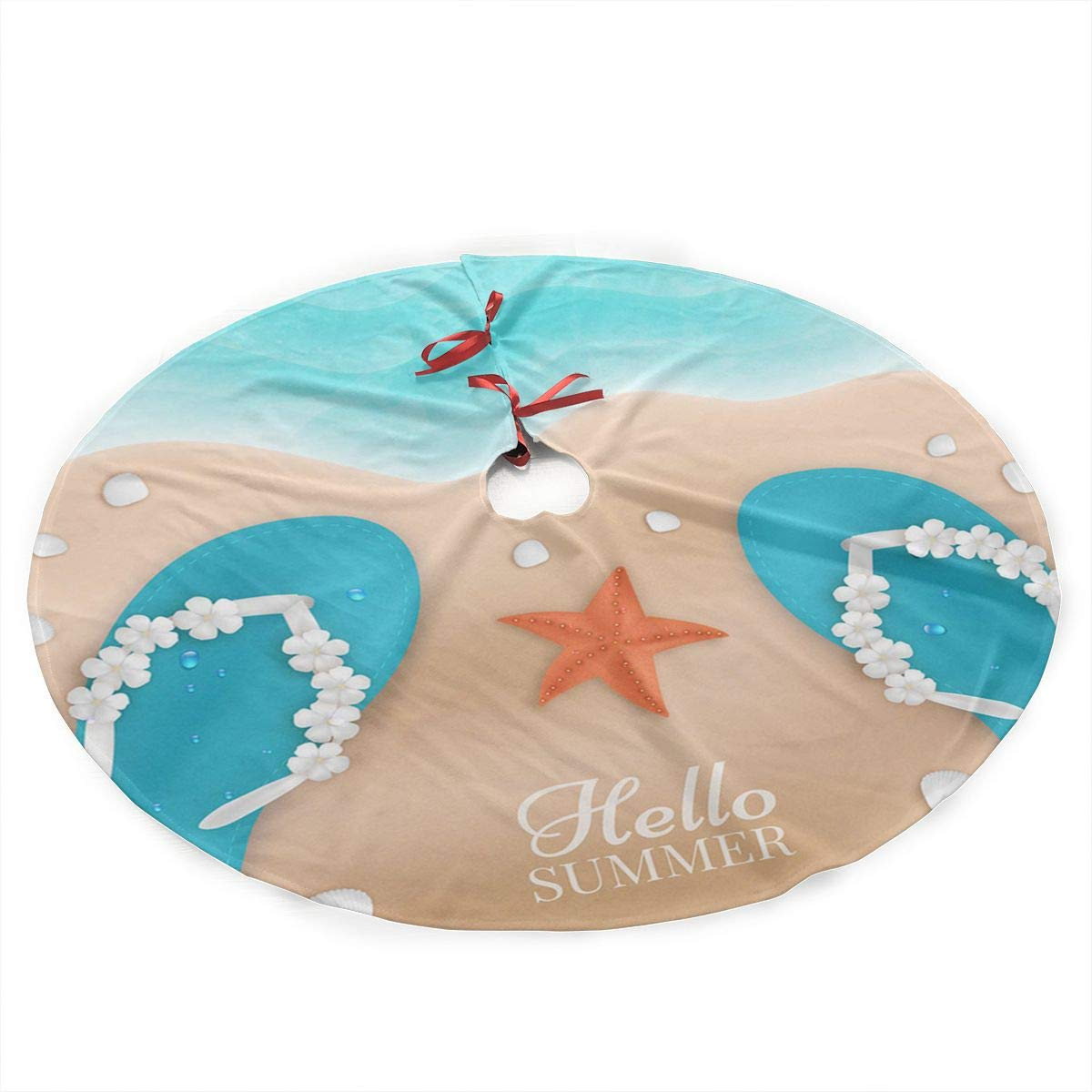 Qinf The Summer On The Beach Christmas Tree Skirt 35.5'' Xmas Holiday Decoration