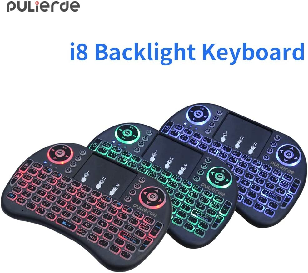 Calvas i8 English 2.4GHZ mini backlight Keyboard Wireless Air Mouse gaming qwerty Touchpad Handheld for Android TV BOX Mini PC Color: i8 Russian