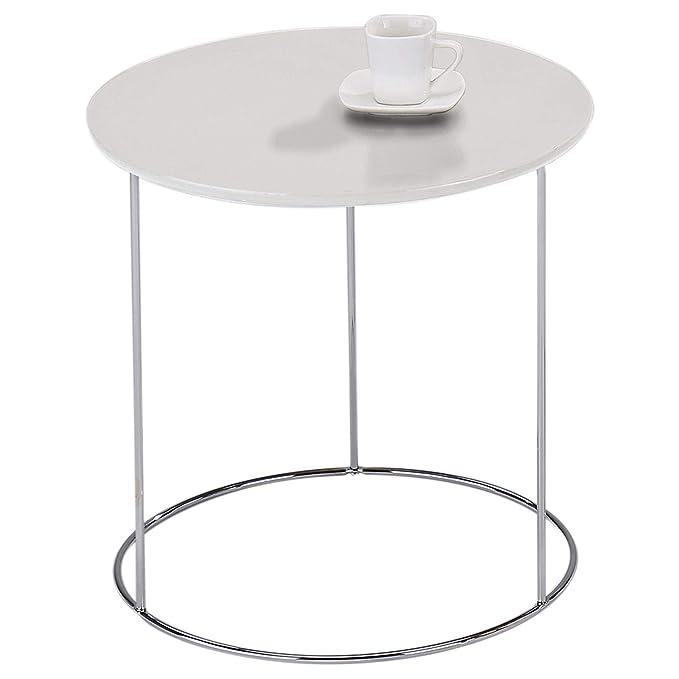 IDIMEX Table d appoint FIDELIUS Table Basse Ronde Bout de canapé Design  Retro Vintage Industriel avec Pied en métal chromé, Plateau en MDF décor  Blanc  ... dc21f13ebcc0