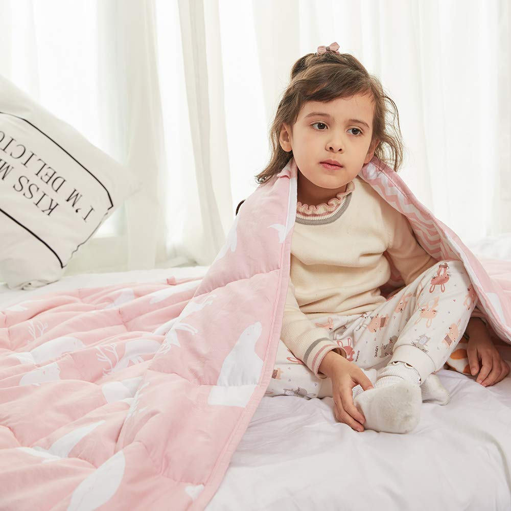 Weighted Idea Weighted Blanket Kids 10 lbs | 41'' x 60'' | 100% Natural Cotton | Pink Animal | for Kids and Teens