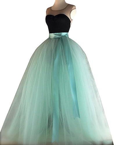 Dressyonly Women's Long Sheer Mesh Tulle Overlay Tutu Skirt