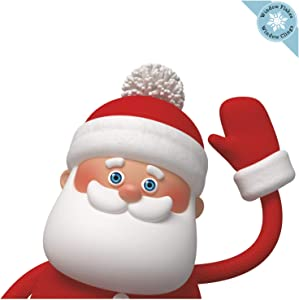 Christmas Window Clings - Waving Santa Claus Christmas Window Decorations - Reusable Non-Adhesive Holiday Christmas Window Stickers and Door Decor