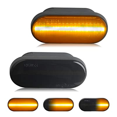 RUXIFEY Sequential LED Side Marker Lights Compatible with VW Golf3 Golf4 Bora Lupo Passat Polo Sharan Vento T5 Smoked, Pack of 2: Automotive