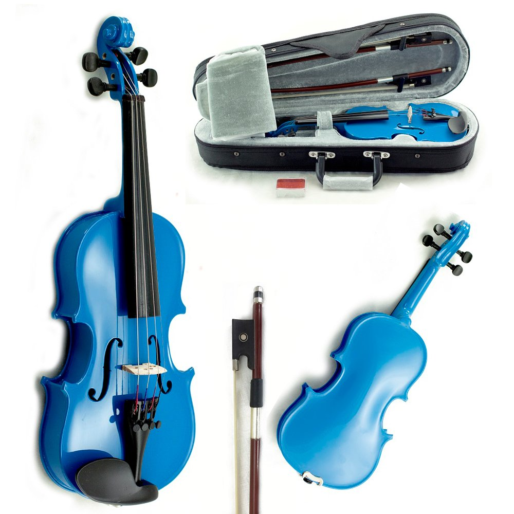 SKY Solid Wood 1/10 Size Kid Violin with Lightweight Case, Brazilwood Bow and Sky Blue Color
