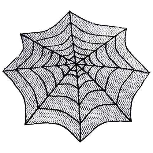 PartyTalk Halloween Spider Web Table Topper, 30-Inch Round Black Lace Tablecloth for Scary Movie Night Halloween Decorations]()