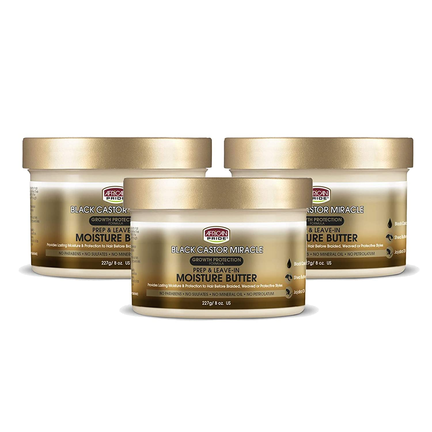 African Pride Black Castor Miracle Prep & Leave-In Moisture Butter (3 Pack) - Provides Lasting Moisture & Protection to Hair, Contains Black Castor Oil, Shea Butter and Jojoba Oil, 8 oz