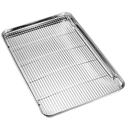 HKJ Chef Large Set Cookie Sheet and Nonstick Cooling Rack & Stainless Steel Baking Toaster Oven Tray Pan Rectangle Size 24L x 16W x 1H inch & Non Toxic & Healthy, 24inch, Silver