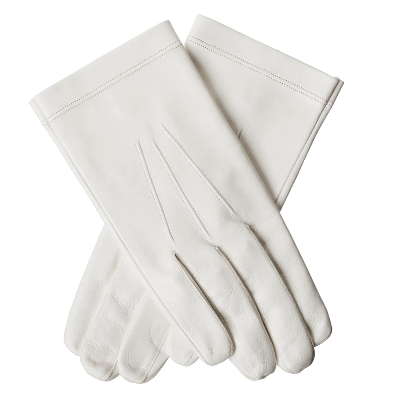Lundorf Offiziers Herren Glacé Handschuhe Leder – Weiß – Für Gala, Parade, Hochzeit etc.