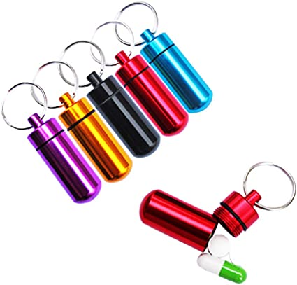Waterproof Pill Storage Box Case Holder Container Capsule Bottle Keychain
