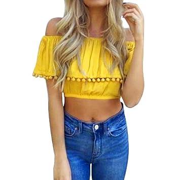 LILICAT® Mujeres Sólido Sexy Off Hombro Camisetas, Blusa Moda Encaje Manga Corta Borla Vestidos de Fiesta Básico Verano 2018