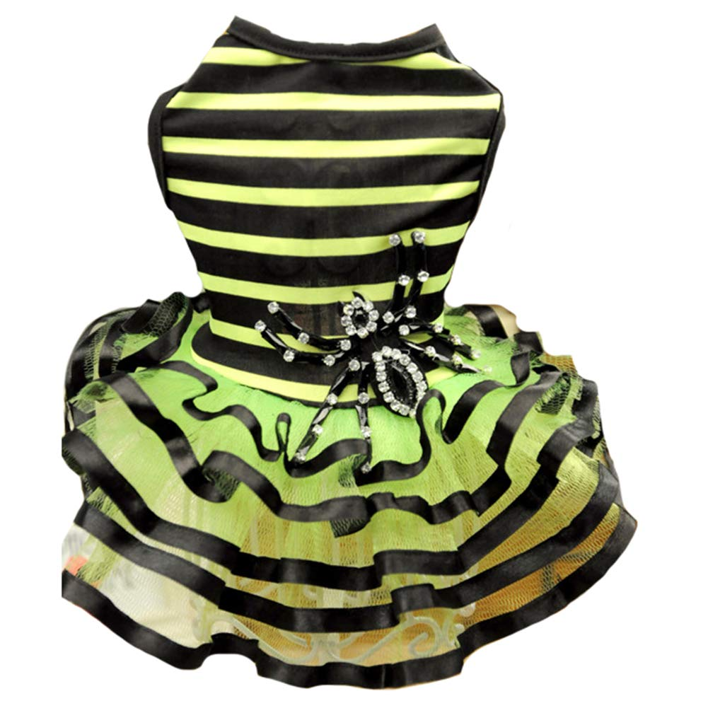 Green XL Green XL Dog Dress Large Floral Black Green Stripes and Big Spider Tutu Skirt Dog Pet Cat for Small Dogs and Cats,Green,XL