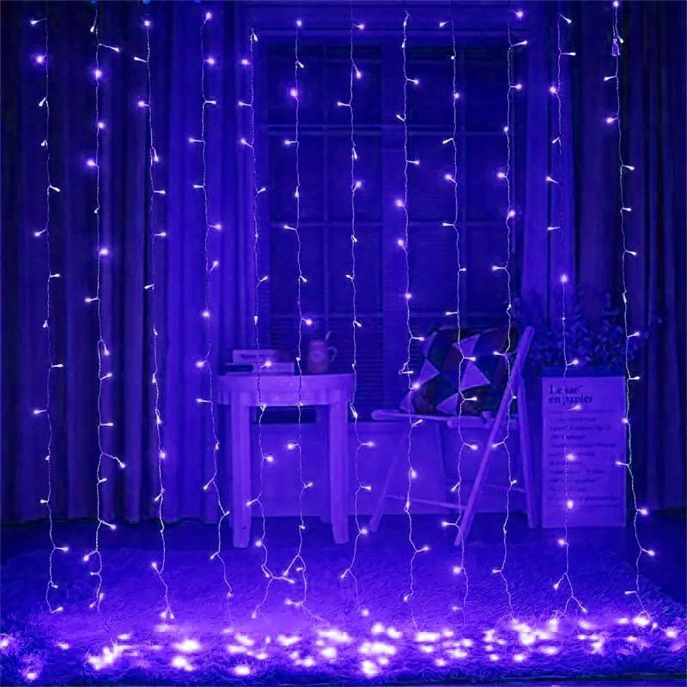 ZSTBT 300LED 9.84ft x 9.84ft Window Curtain Fairy Lights for Party Wedding Home Patio Lawn Garden (Blue)