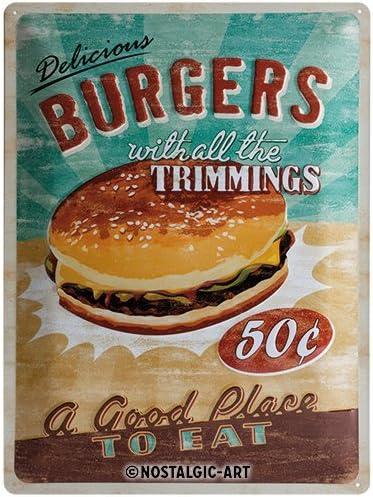 38x23cm #74585 Essen Hamburger Pommes Retro Style Blechschild Im Retro-Look