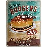 Nostalgic-Art Plaque de Décoration en Métal - Design Retro - Vintage Delicious Burgers with All the Trimmings
