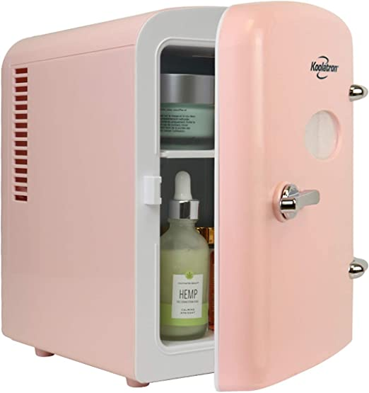 Amazon Com Koolatron Krt04 P Retro Personal Cooler 4 Liter 6 Can Ac Dc Portable Mini Fridge Thermoelectric Cooler In Pink Great For Skincare Medications Cars Homes Offices Bedroom And Dorms Etl Listed Automotive