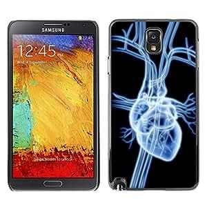 TopCaseStore / la caja del caucho duro de la cubierta de protección de la piel - Heart X Ray - Samsung Galaxy Note 3 N9000 N9002 N9005